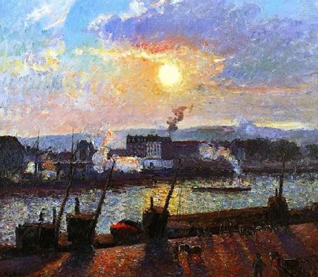 Sunset,-Rouen Pissarro