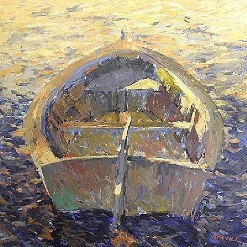 Shaded Skiff With Rudder 48x48 acrylic on canvas