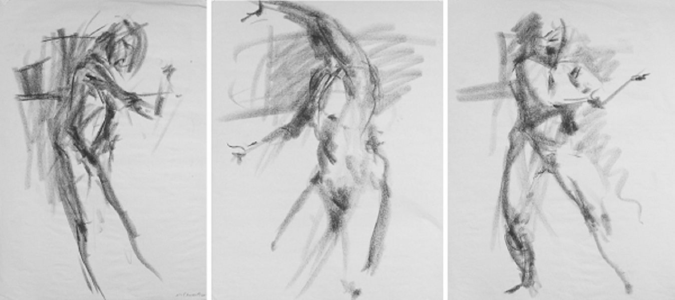 Three Figures charcoal on paper