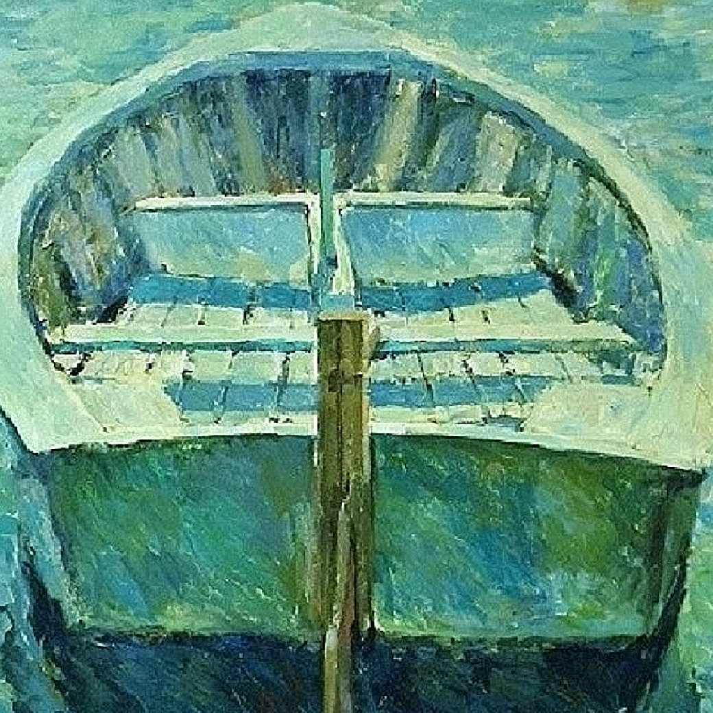 GREEN BOAT & SEA 46X46 ACRYLIC ON CANVAS 021112
