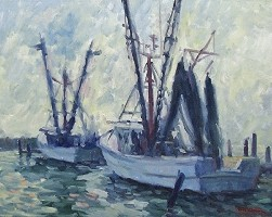 Low Light Fishing Boats 16x20 oil on linen MTMcClanahan