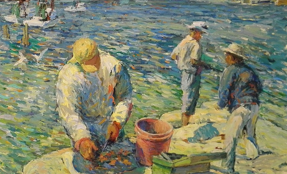 Fishermen 40x40 acrylic on canvas