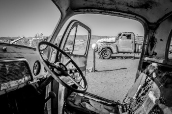 Abandoned Cars Solitaire, Namibia by Gita Claassen