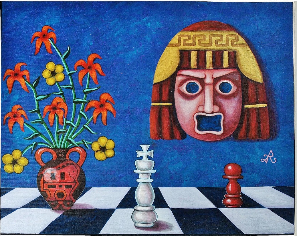 Panikos & King Rex 16x20 Acrylic 2011 by Roopa Dudley