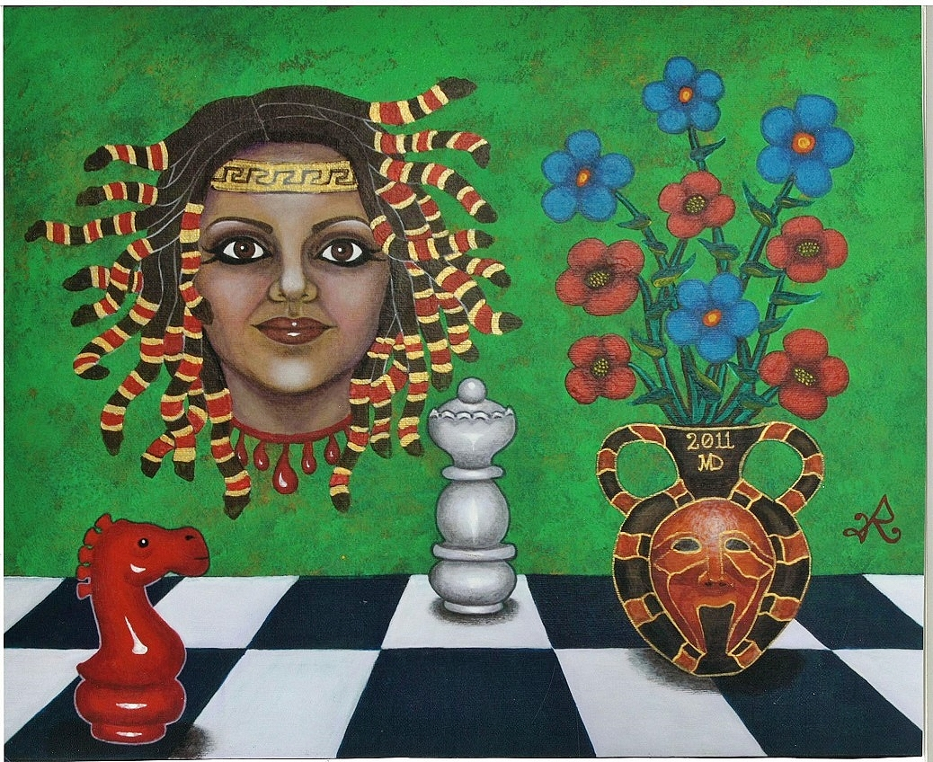 Smiling Medusa 16x20 Acrylic 2011 by Roopa Dudley