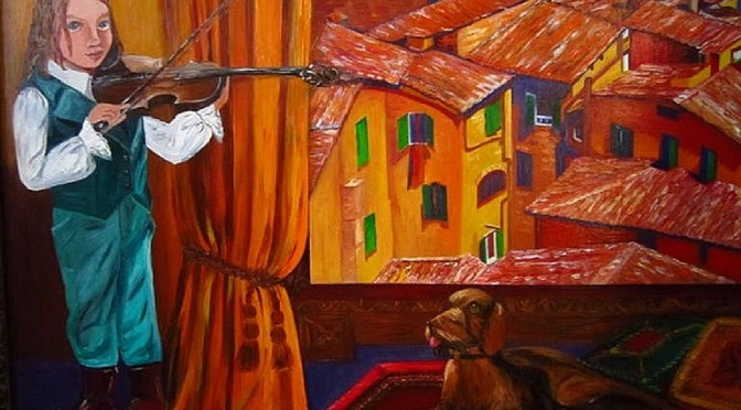 A Little Violinist and Italian Roofs by E. Roush