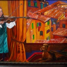 A Little Violinist and Italian Roofs by Elena Roush