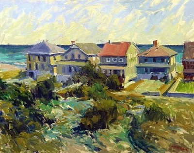 Beach Bungalows 24x30 oil on canvas by MTMcClanahan
