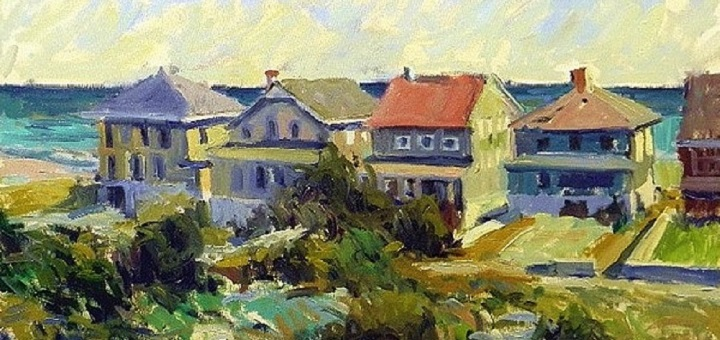 BEACH BUNGALOWS 24X30 OIL ON CANVAS